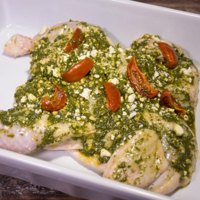 chicken butterflied basil pesto