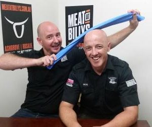 2 bald butchers shiny heads