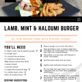 Lamb, Mint & Haloumi Burger Recipe Card A5