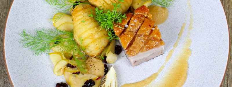 Crispy Pork Belly and Hasselback Potatoes