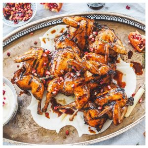 char grilled pomegranate quails with rose yoghurt 600 x 600