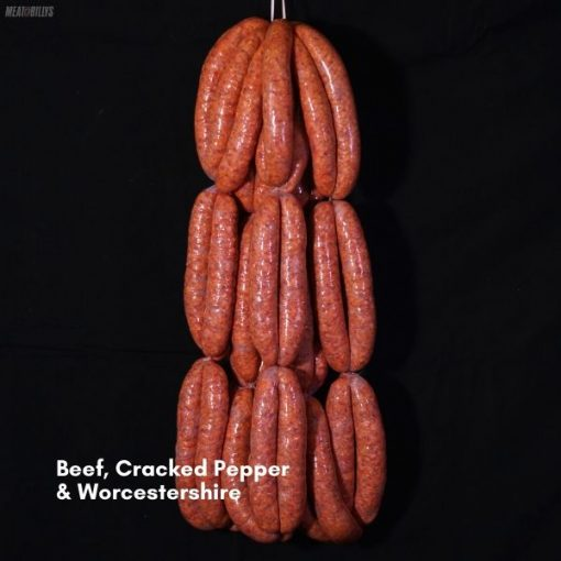 Beef, Cracked Pepper & Worcestershire Sausages 600x600 feature image