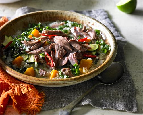 Lao Style Lamb Shank Sticky Rice Soup