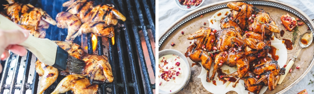 char grilled pomegranate quails with rose yoghurt 3