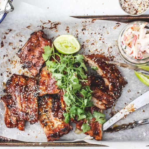 sticky, smoky, spicy pork ribs