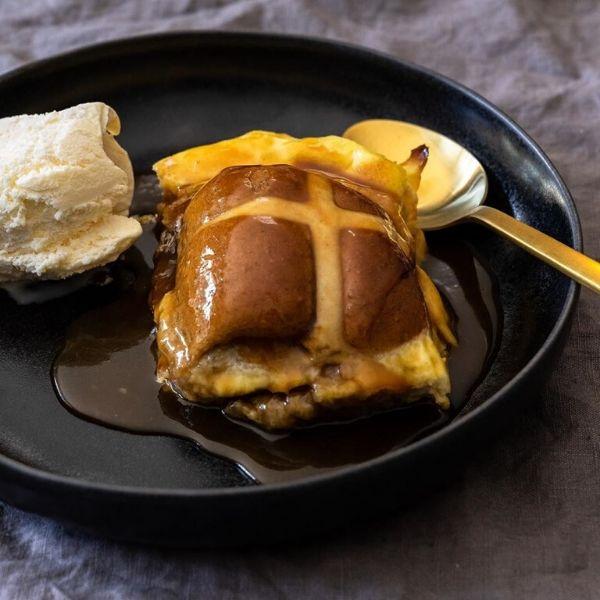 Salted Caramel Hot Cross Bun Pudding recipe