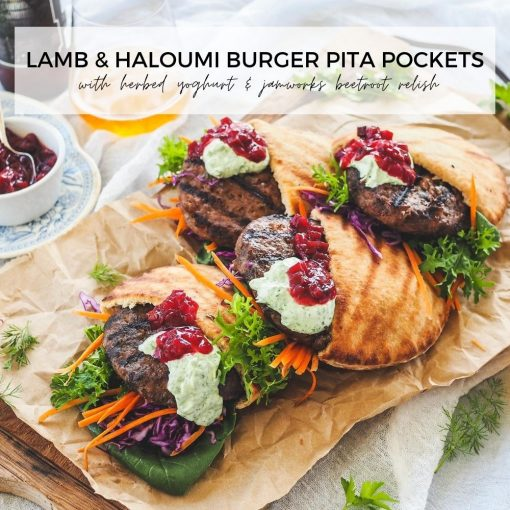 Lamb & Haloumi Burger Pita Pockets with Herbed Yoghurt & Jamworks Beetroot Relish