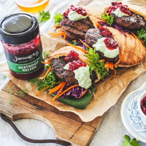 Lamb & Haloumi Burger Pita Pocket with Herbed Mayo & Jamworks Beetroot Relish