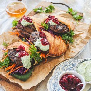 Lamb & Haloumi Burger Pita Pockets with Herbed Yoghurt & Jamworks Beetroot Relish