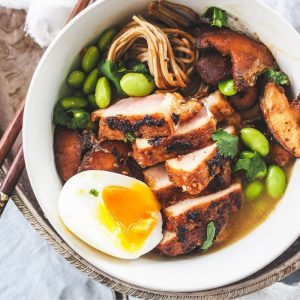 Asian Sesame Pork Medallions with Soba Noodle Broth