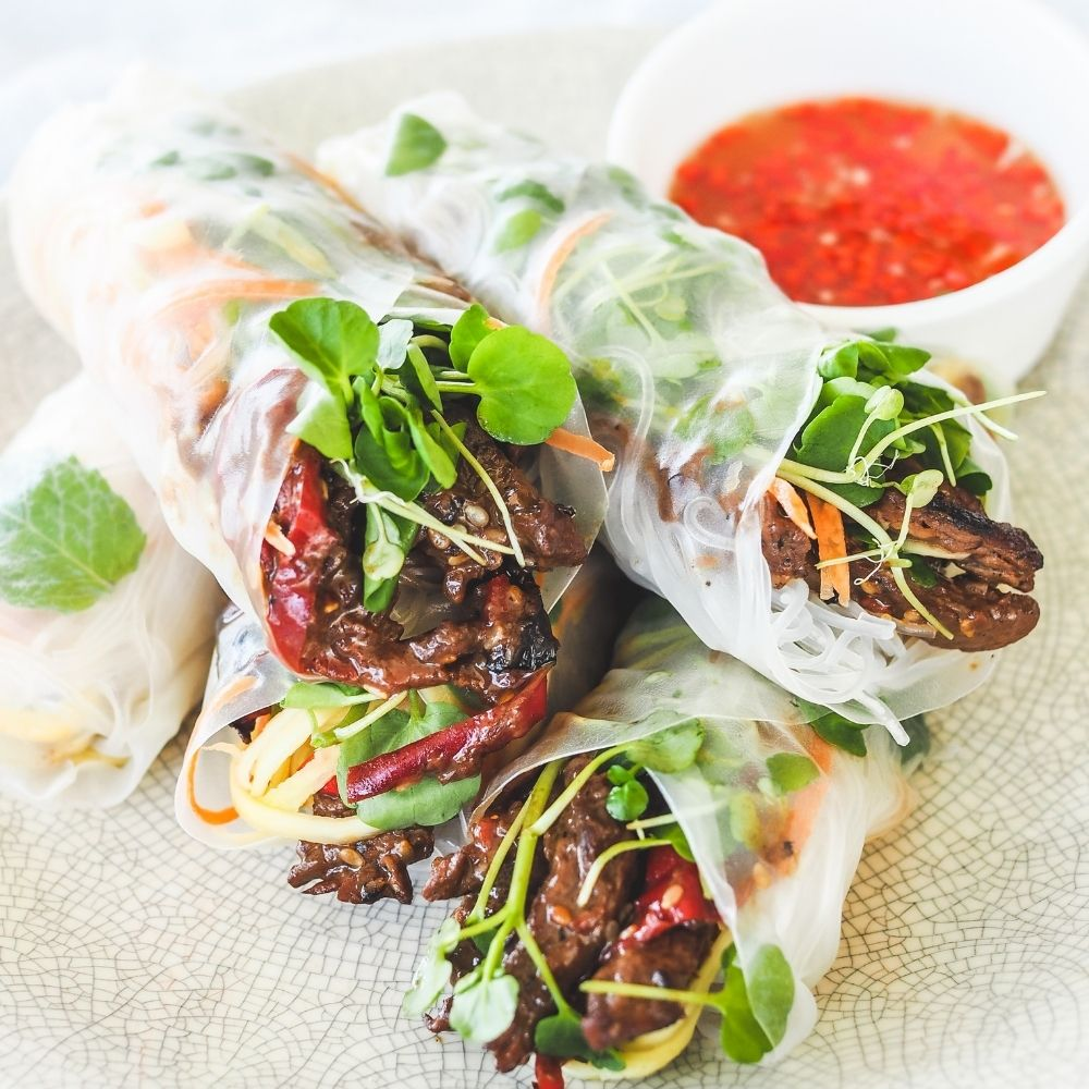 Left over Stir Fry Beef Rice Paper Rolls