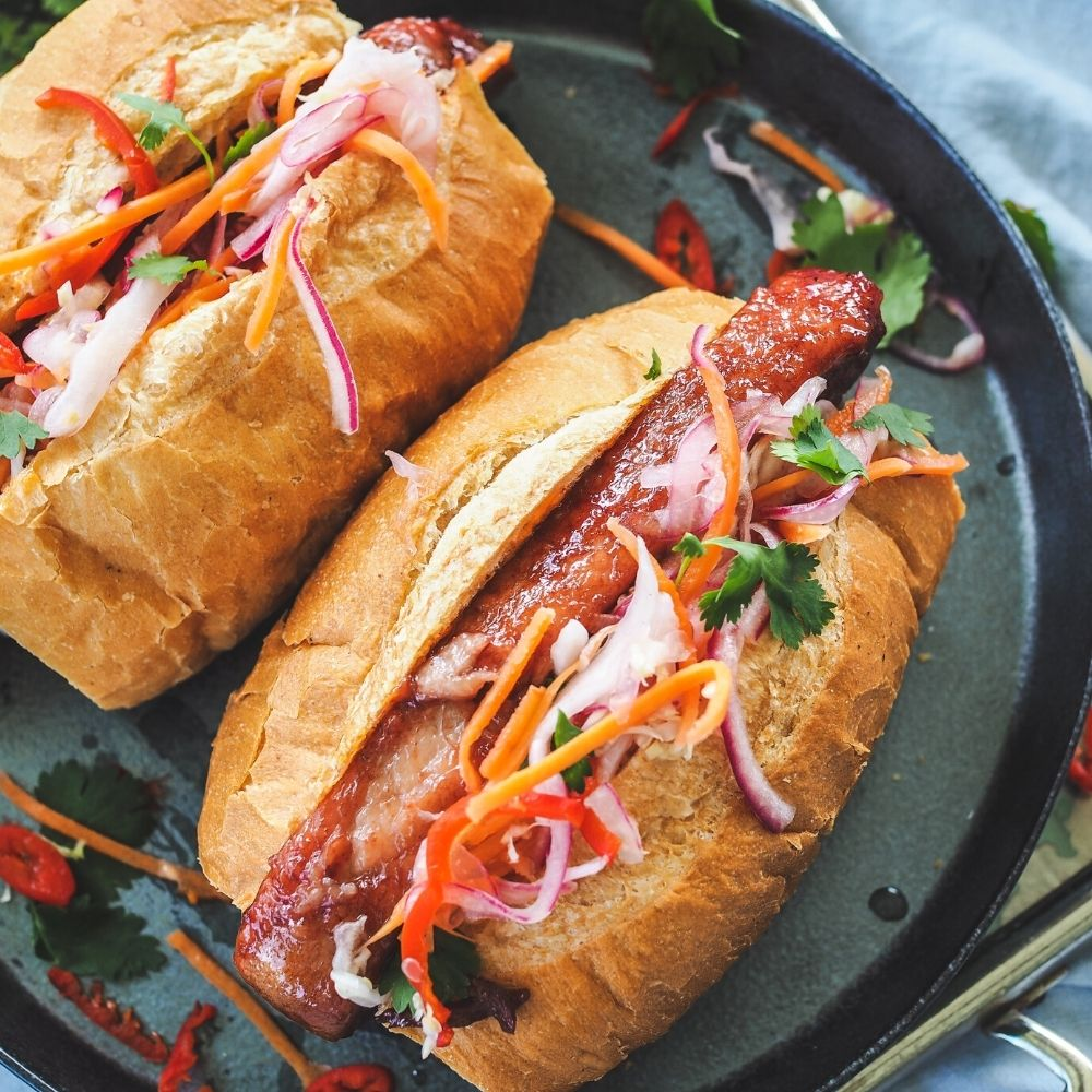 Char Siu Pork Roll with Pickled Veg & Chilli Mayo