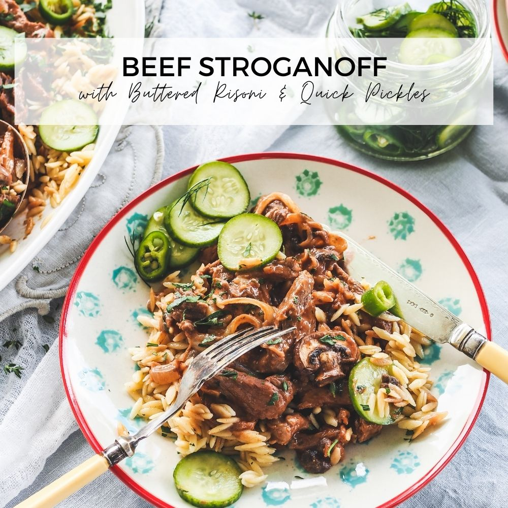 Beef Stroganoff with Buttered Risoni