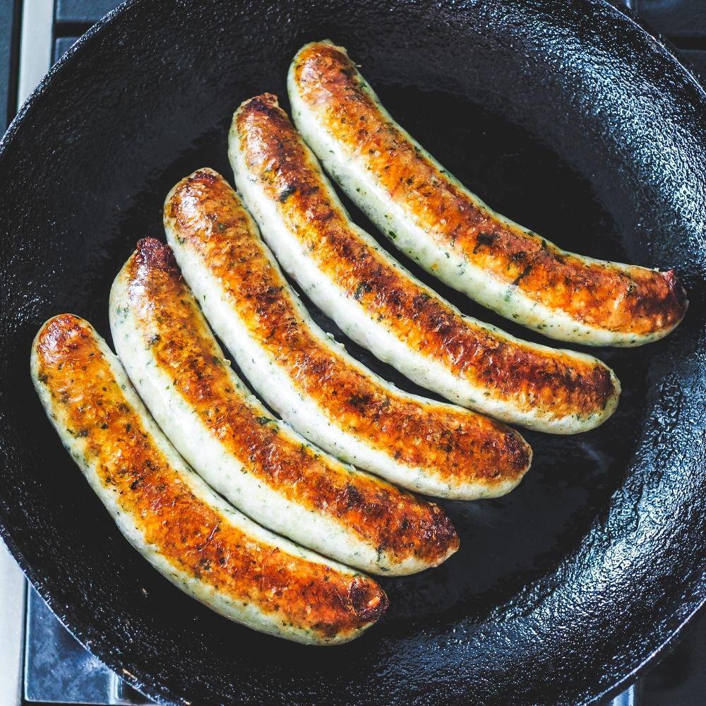 Chicken, Spinach & Pinenut Sausages with Sugar Snaps & Freekeh