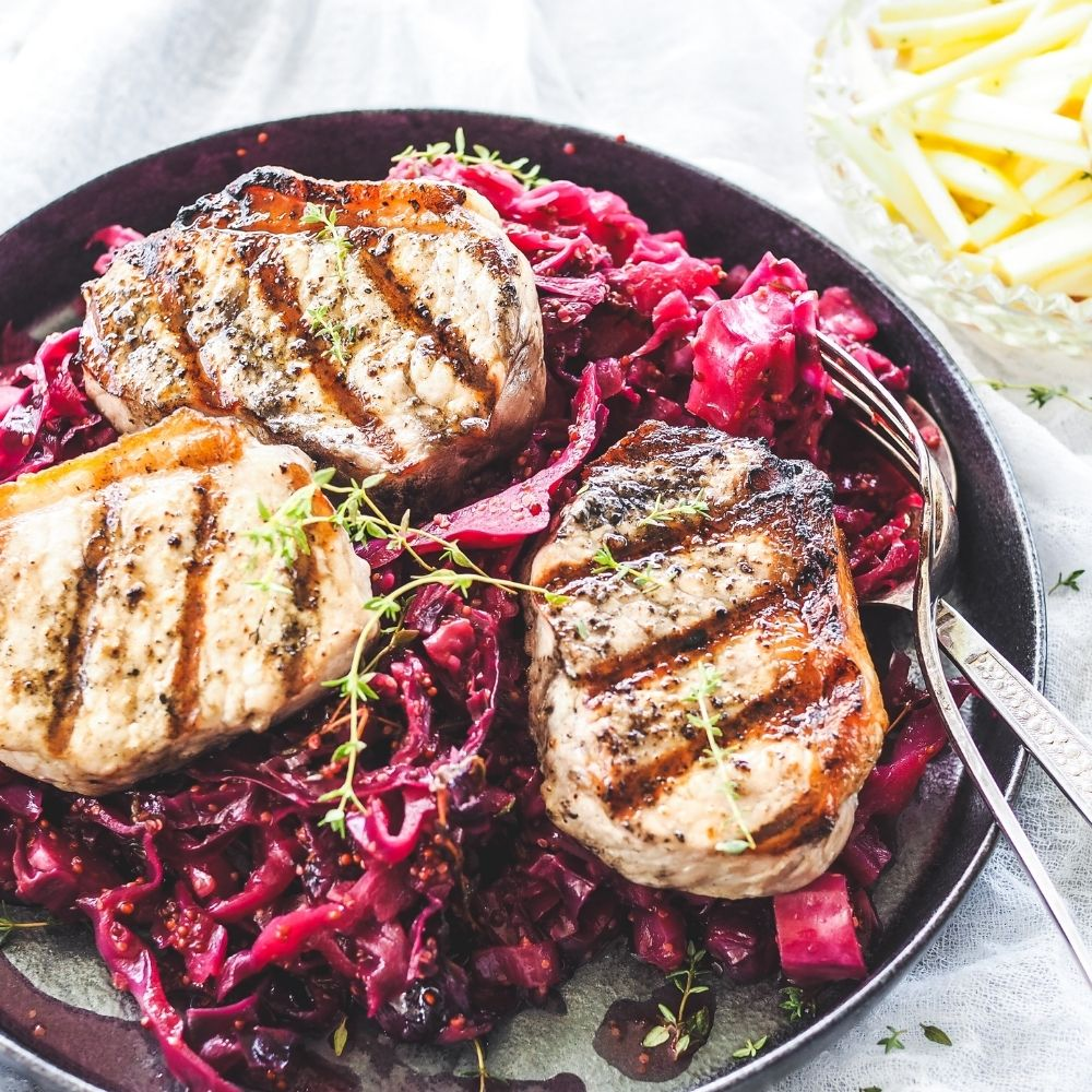 Grilled Pork Medallions with Mustard Braised Red Cabbage