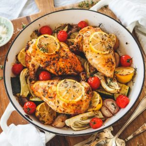 One Pan Lemon & Garlic Supremes with Thyme Roasted Veges