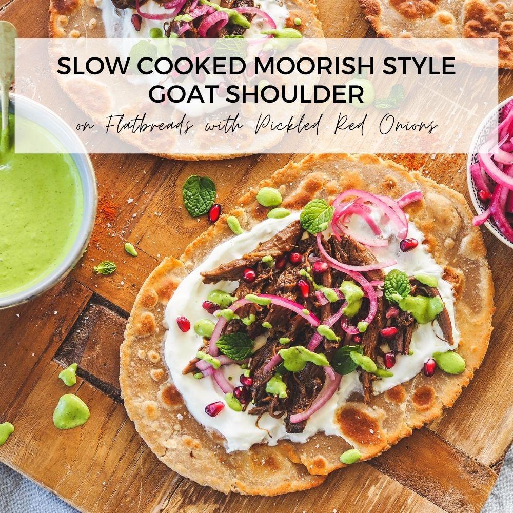 Slow cooked Moorish style goat shoulder on flatbreadSlow cooked Moorish style goat shoulder on flatbread