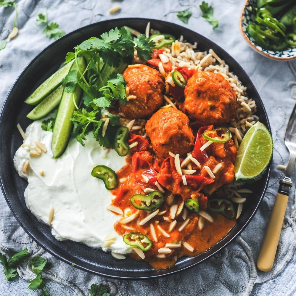 Butter Chicken Meatballs with Rustic Tomato Sauce and Fragrant Basmati Rice