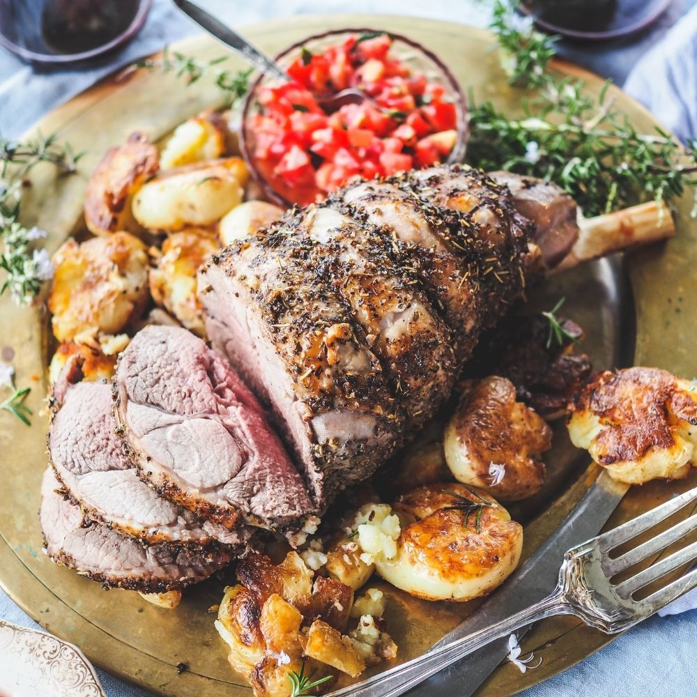 HERB ROASTED EASY CARVE LAMB SMASHED OLIVE OIL POTATOES