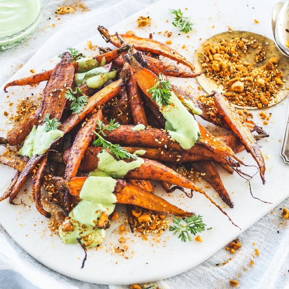 Middle Eastern Roasted Carrots with Herby Carrot Top Yoghurt